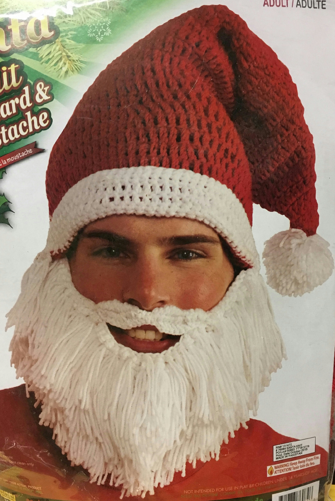 Details about Santa Claus Knit Hat with Attached Beard and Mustache Fun  Christmas Accessory 53d253d5a4a