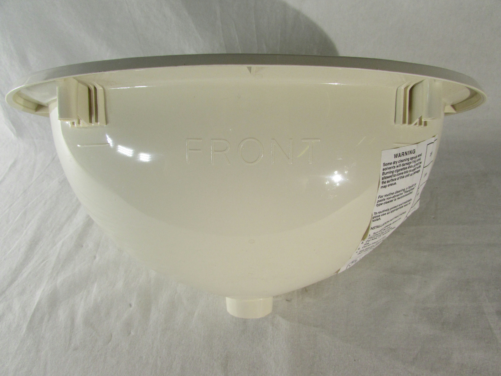 """Acrylic Sink Manufacturers Mail: RV Plastic Sink BPC Mfg. Off-White Beige Oval Shape 13.6""""L"""