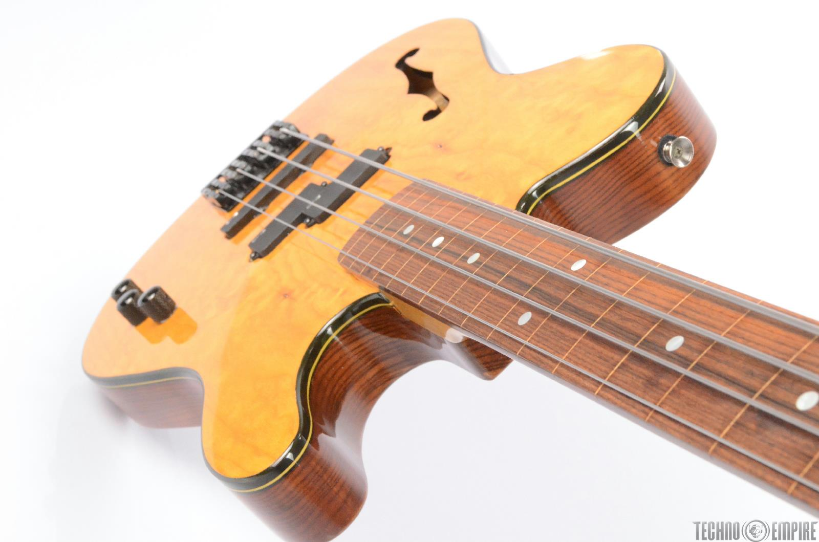 custom telecaster semi hollow body fretless electric bass w fender bag 26409. Black Bedroom Furniture Sets. Home Design Ideas