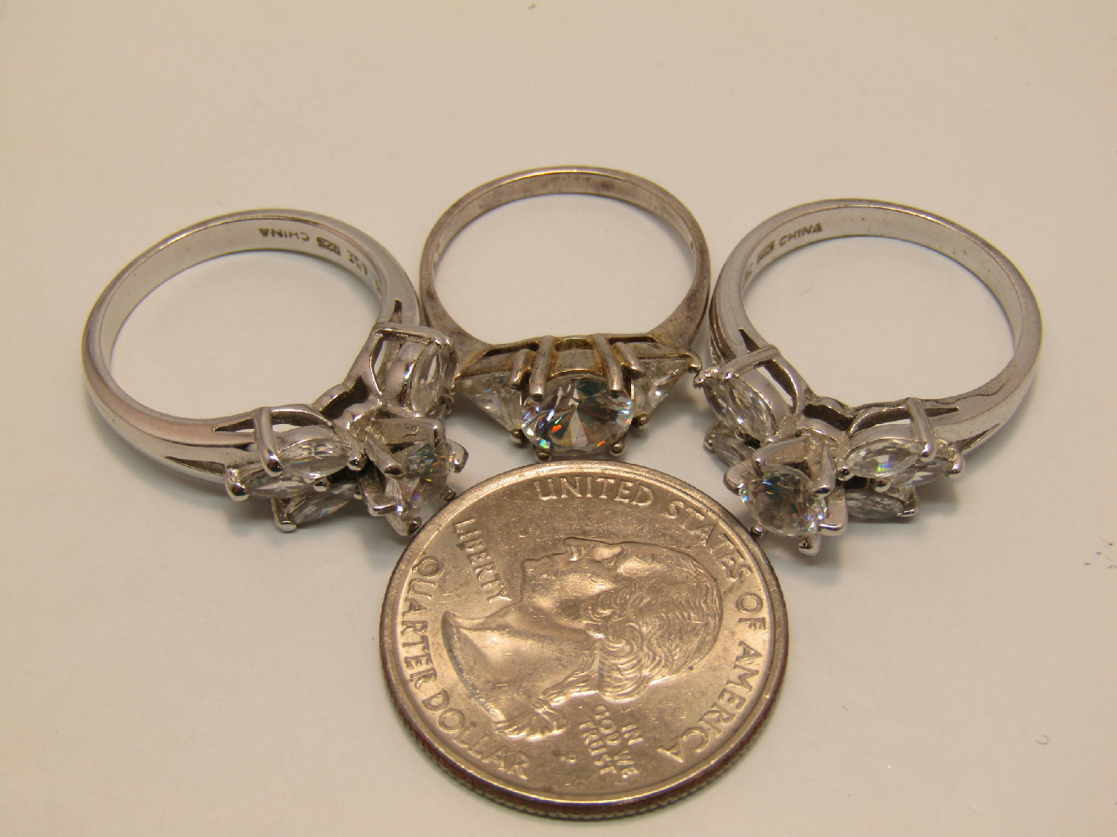 sterling silver failed magnet test jewelry ring lot white