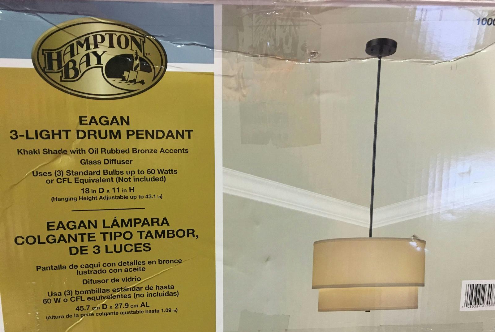 Hampton Bay Eagan 3-Light Oil-Rubbed Bronze Drum Pendant