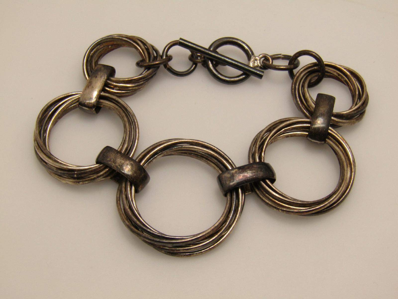 sterling silver jewelry toggle clasp bracelet interlocking
