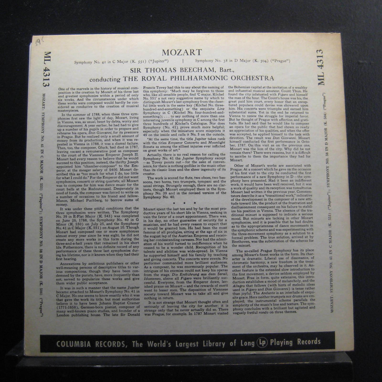 Details about Beecham - Mozart Symphony No  41 in C / Symphony 38 In D LP  VG+ ML 4313 1st