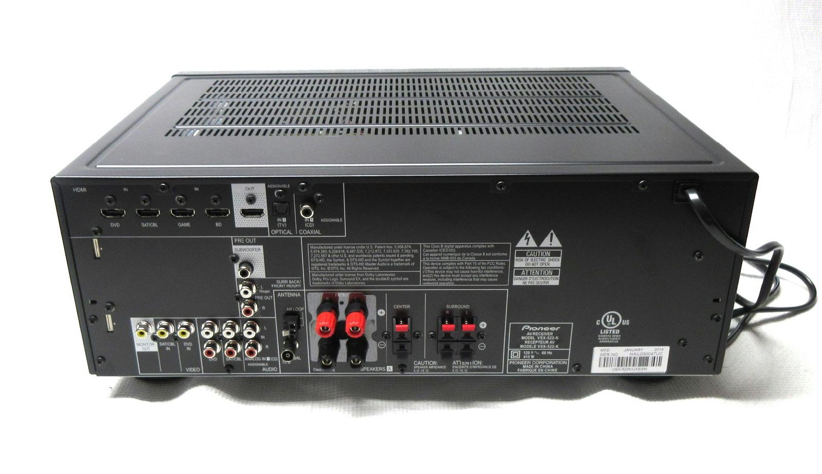 pioneer 5 1 channel 140 watt home theater receiver vsx 522. Black Bedroom Furniture Sets. Home Design Ideas