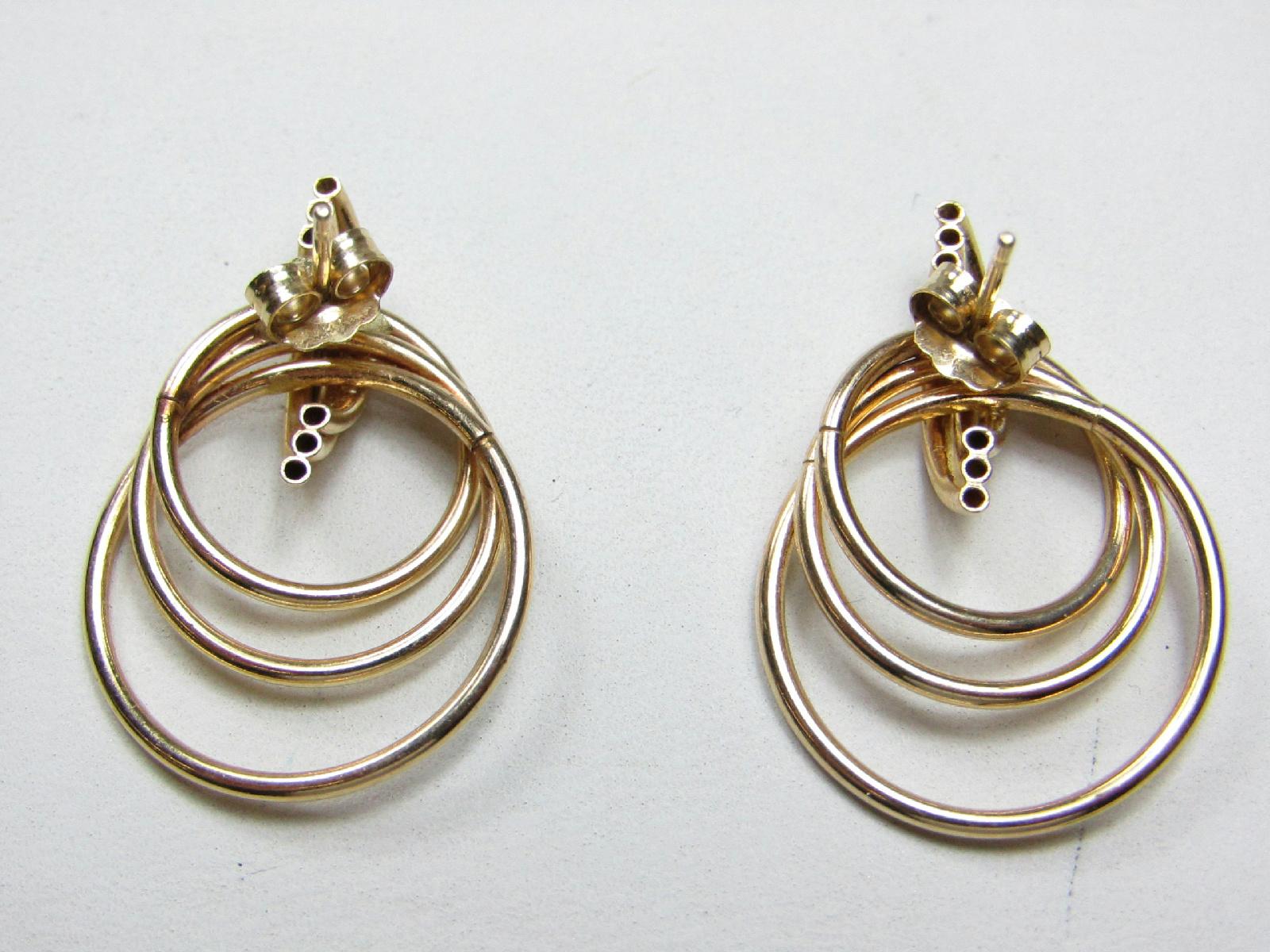 14kt Yellow Gold Jewelry Drop Hoop Earrings W/ Backs