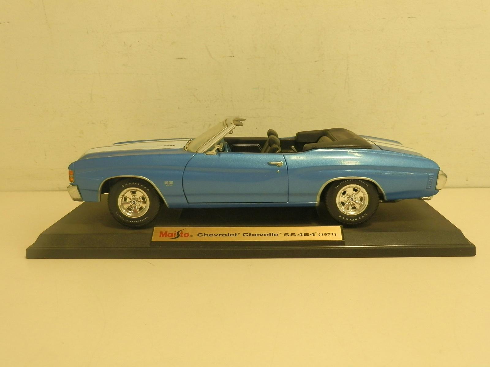 Details about maisto 1 18 diecast chevrolet chevelle ss454 1971 blue