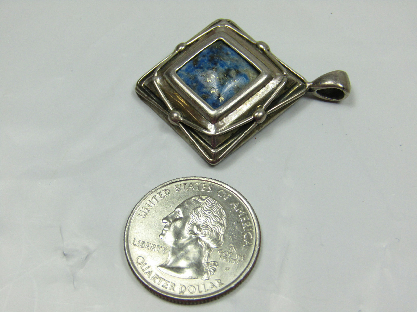 sterling silver marked jewelry diamond shape blue stone. Black Bedroom Furniture Sets. Home Design Ideas