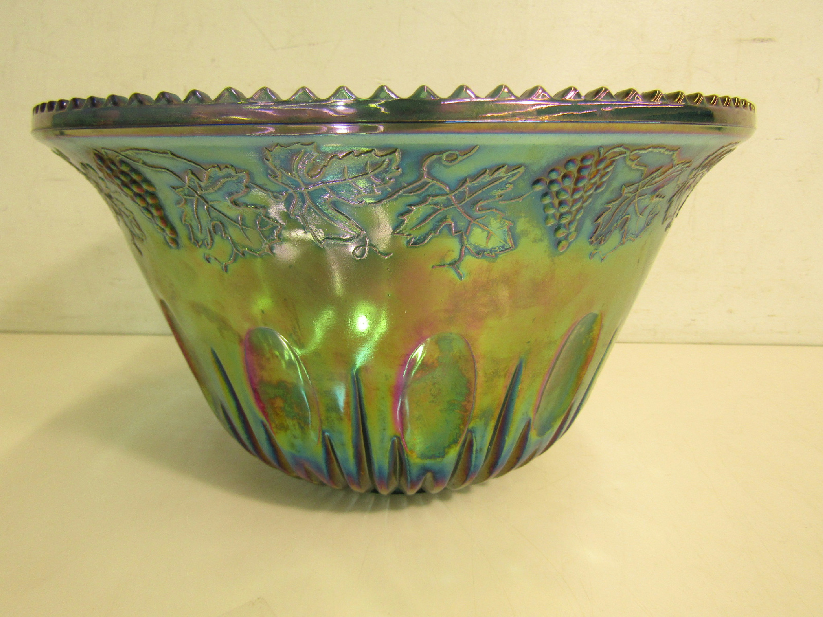 Large greenish blue carnival glass centerpiece bowl quot w