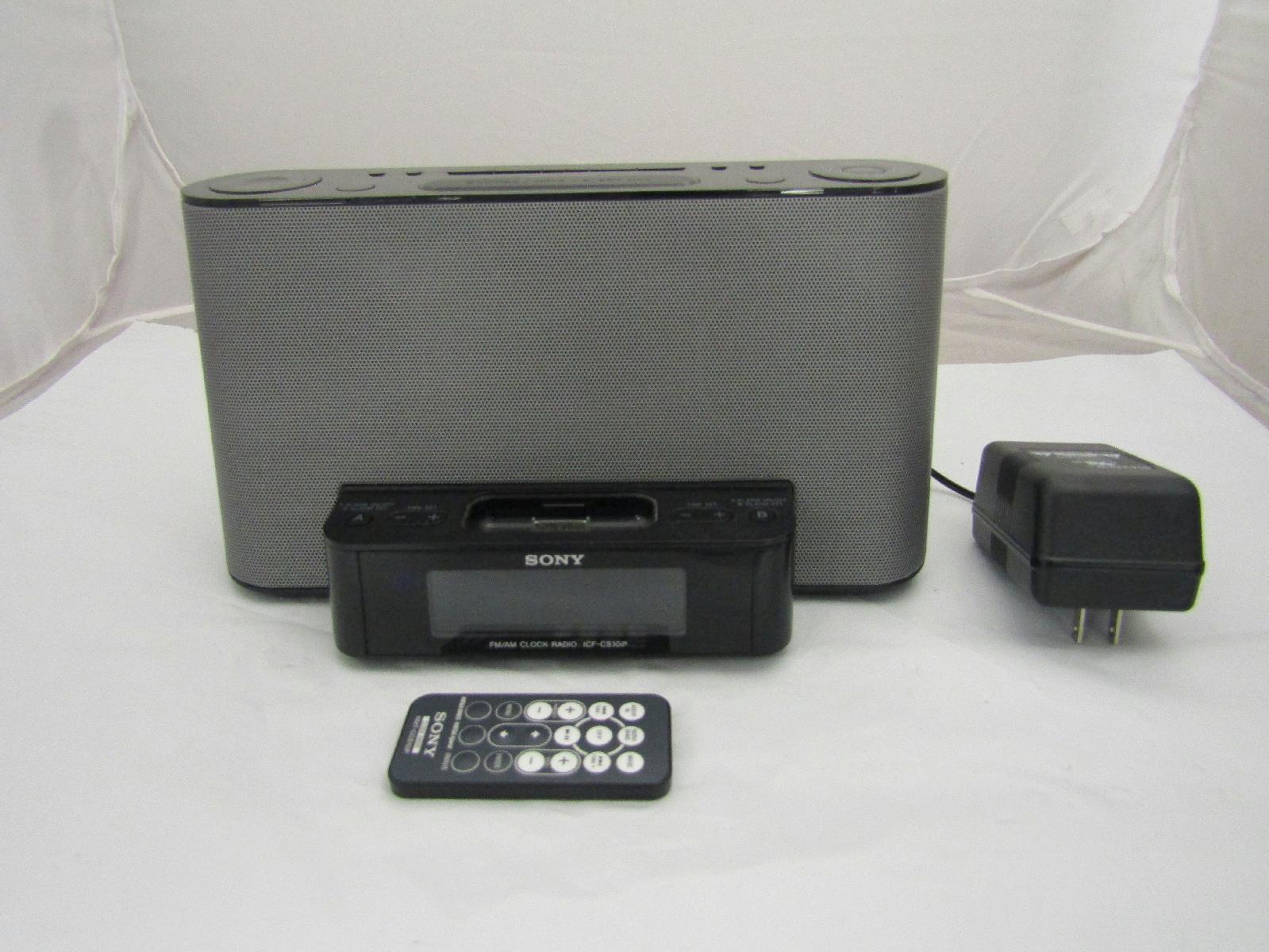 sony icf cs10ip ipod iphone speaker dock fm am radio alarm clock w remote ebay. Black Bedroom Furniture Sets. Home Design Ideas
