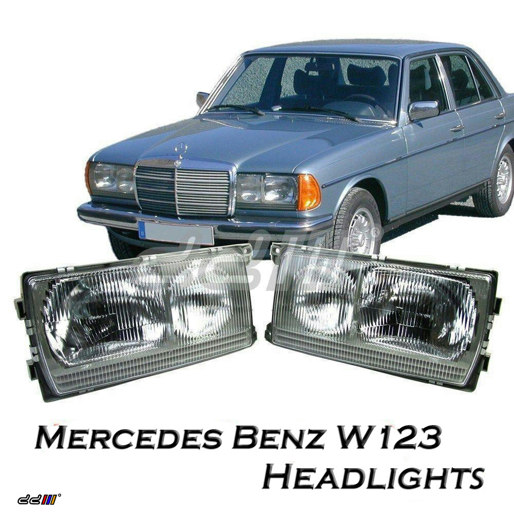 1 pair headlights lamp mercedes benz w123 200d 230e 280c for Mercedes benz w123 parts