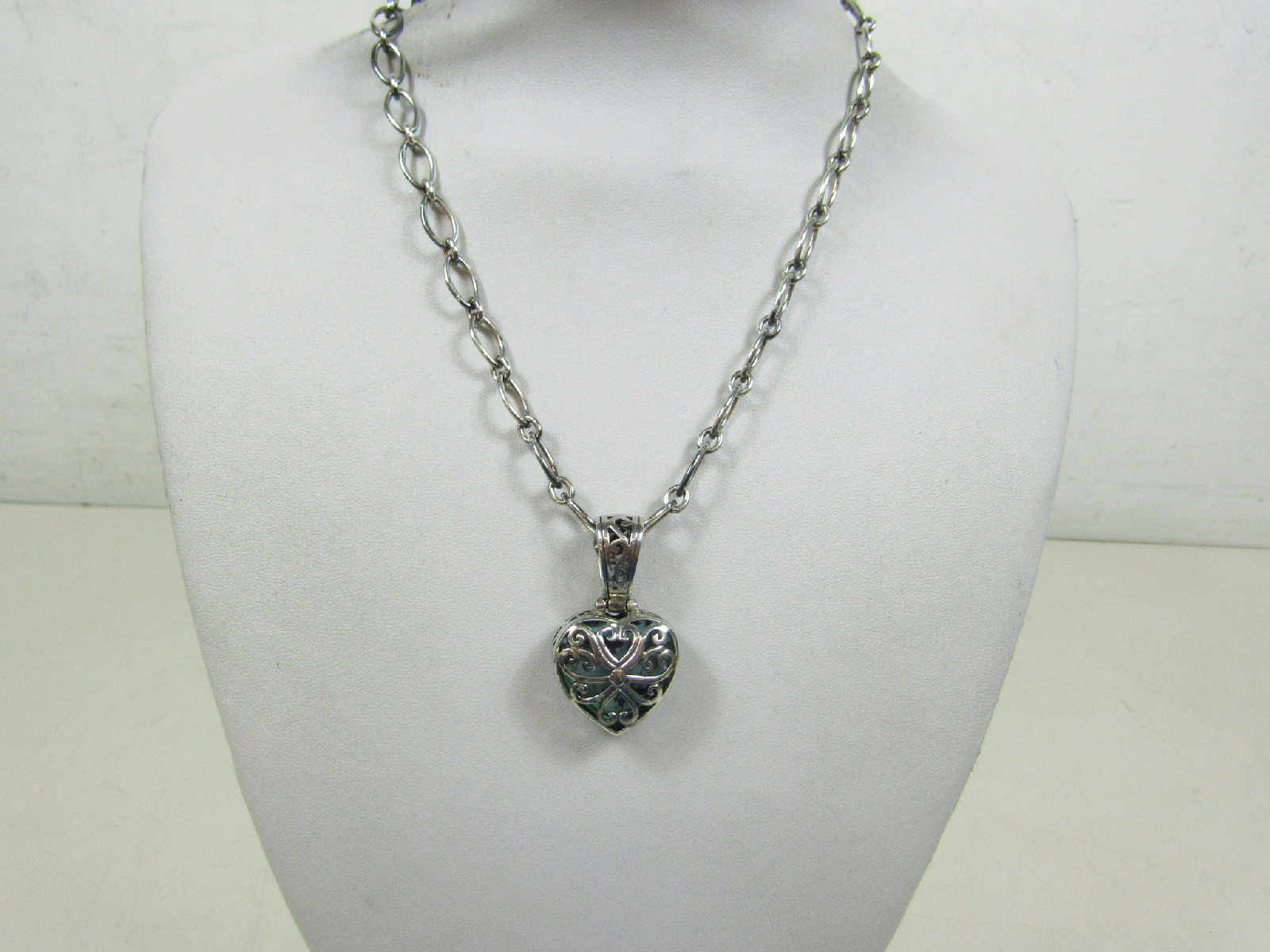 sterling silver jewelry necklace blue black heart stone. Black Bedroom Furniture Sets. Home Design Ideas