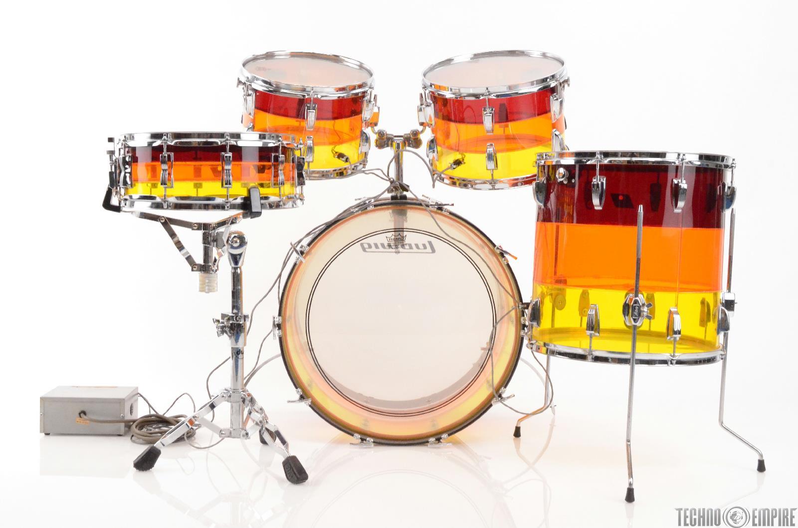 1978 LUDWIG Tivoli Vistalite Tequila Sunrise 5 Piece Drum Kit #27558