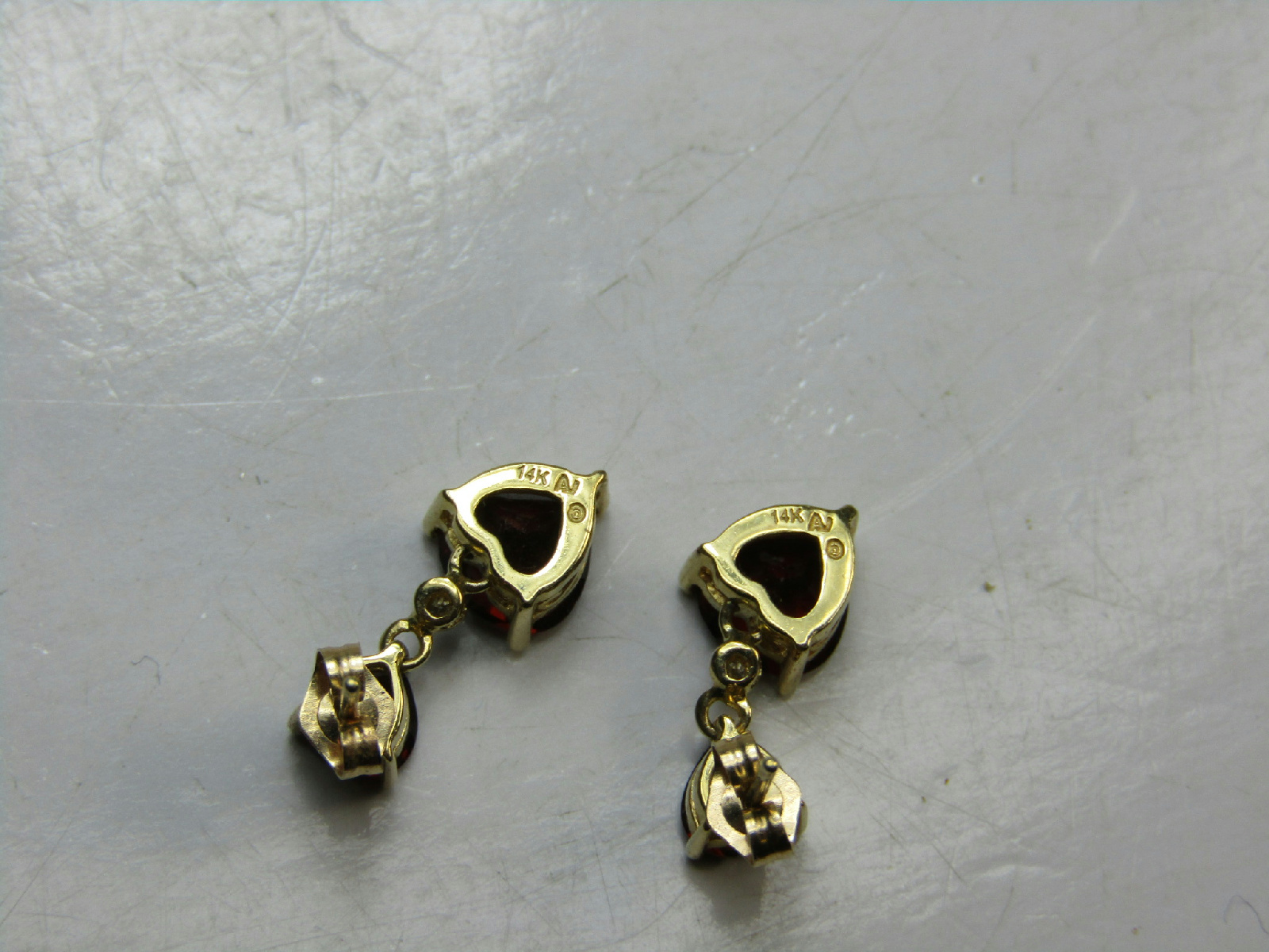 14k yellow gold jewelry earrings red heart stone dangle. Black Bedroom Furniture Sets. Home Design Ideas