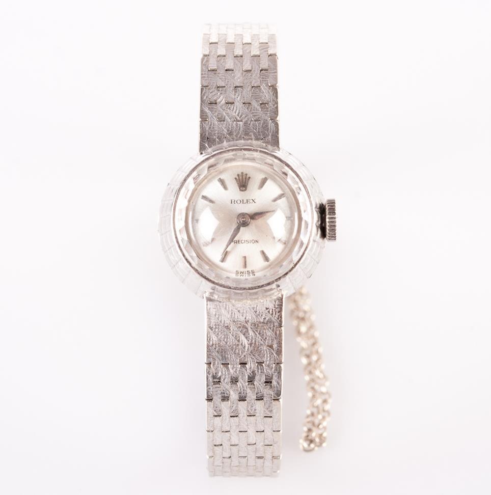 Vintage 1960 S 18k White Gold Ladies Rolex Chameleon Dress