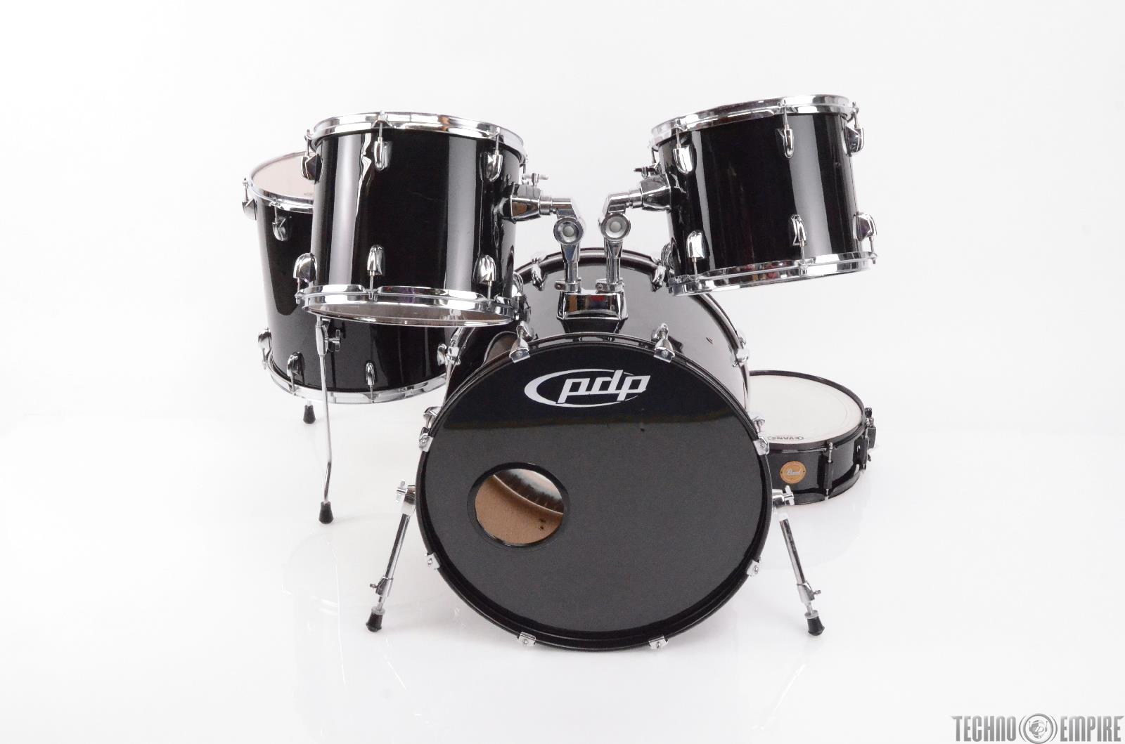 PDP Black 5 Piece Drum Set Kit PEARL Limited Edition Snare VIC FIRTH Pads #27768
