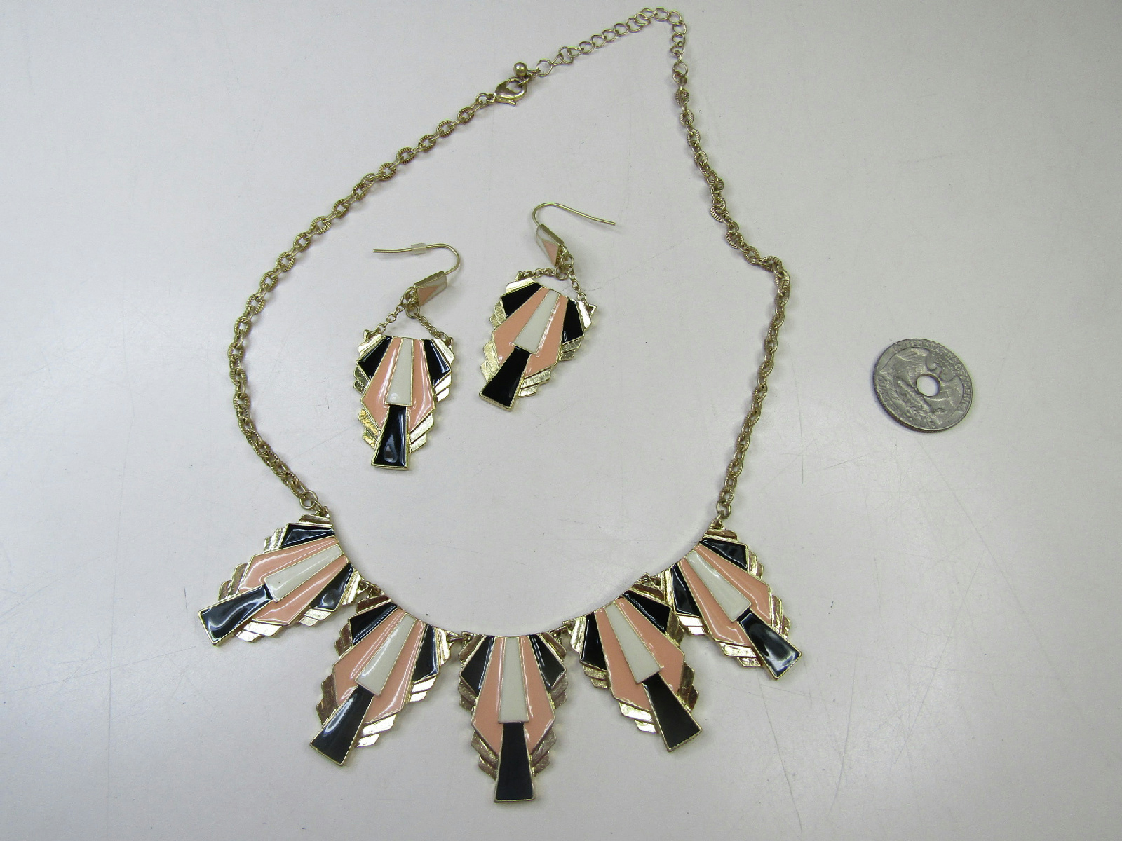 gold tone costume jewelry lot deco style necklace set hoops as is ebay