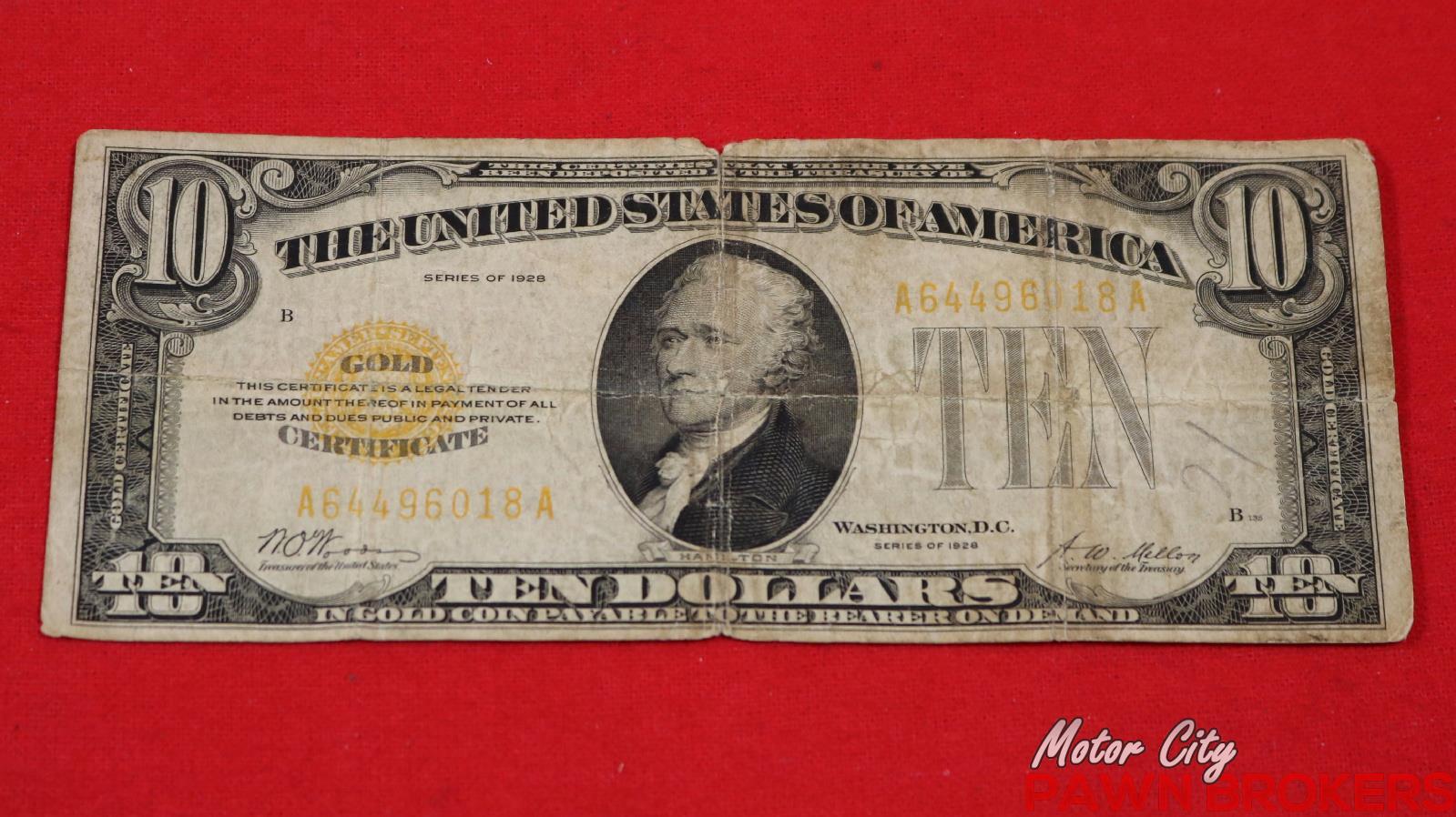 dollar certificate template - 1928 united states gold certificate ten dollar bill