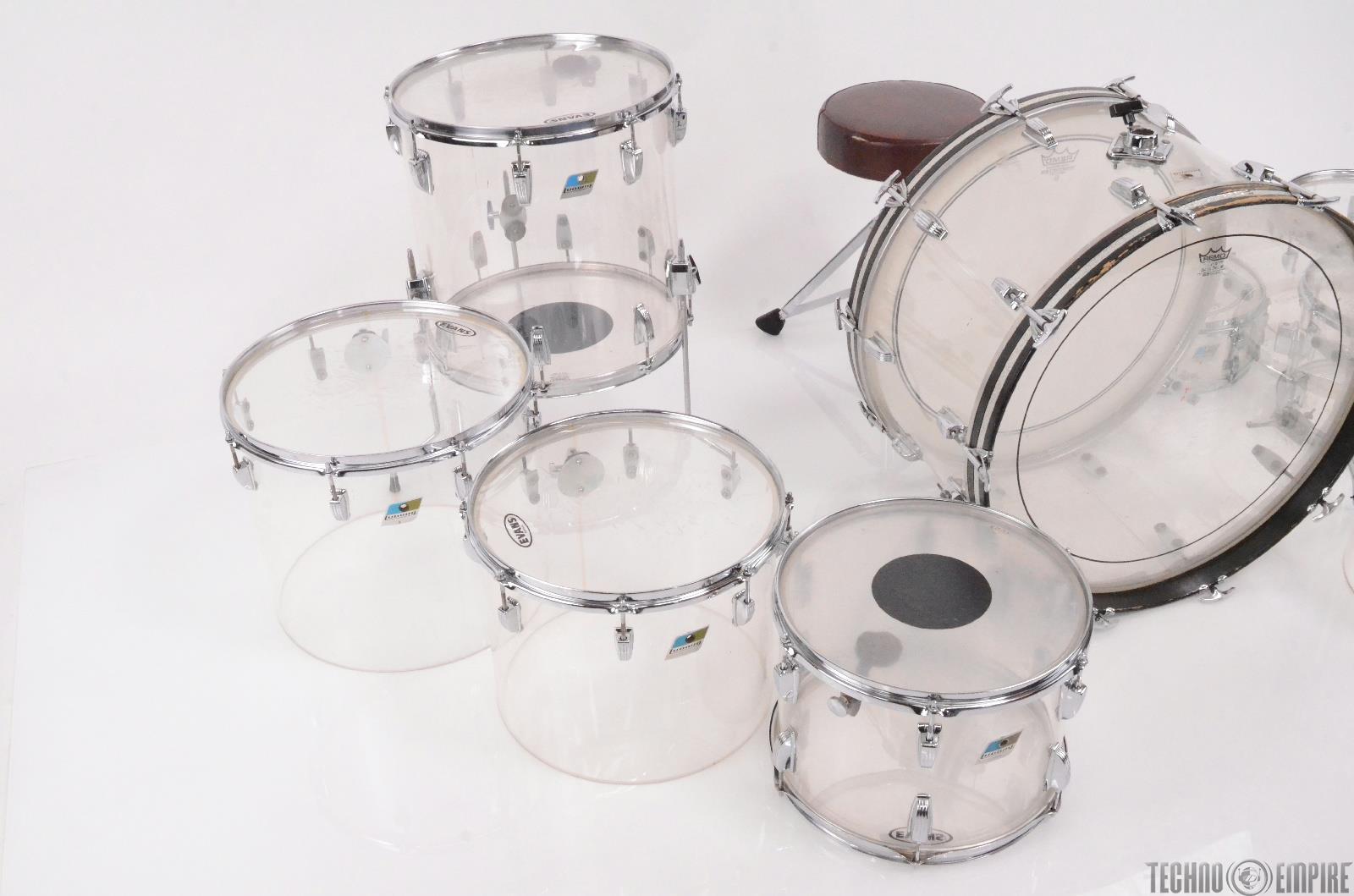 1970 39 s ludwig vistalite 9 piece clear acrylic drum set w beato cases 27783 ebay. Black Bedroom Furniture Sets. Home Design Ideas
