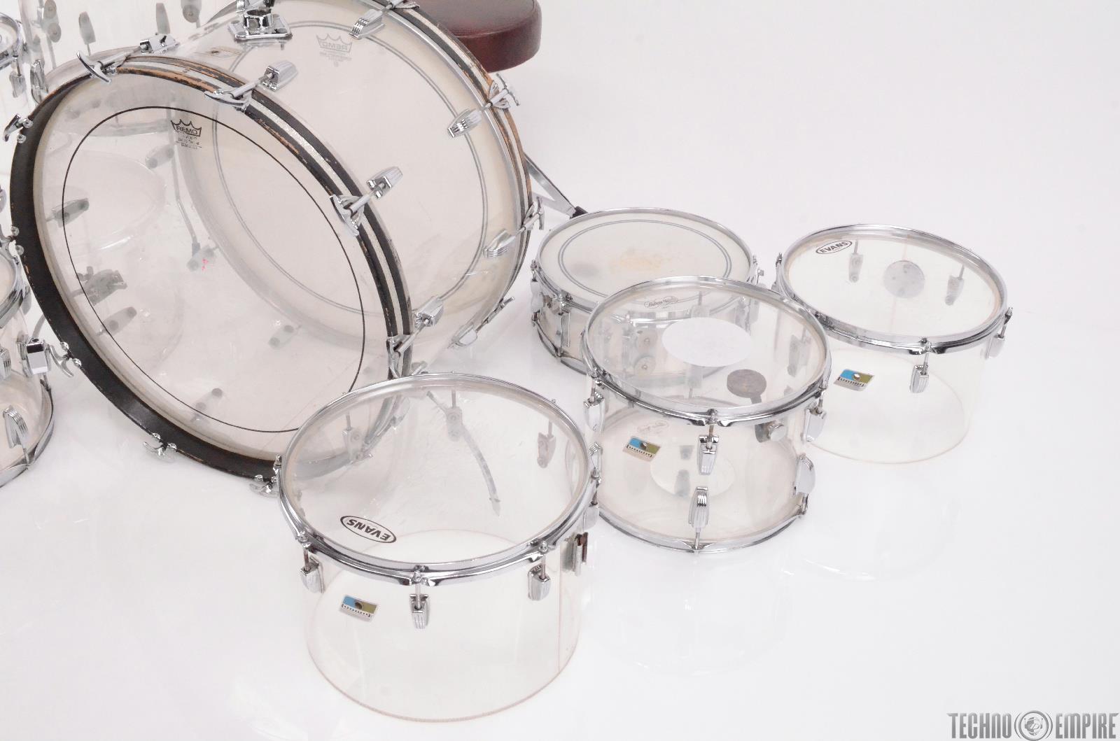 1970 39 s ludwig vistalite 9 piece clear acrylic drum set w beato cases 27783 techno empire. Black Bedroom Furniture Sets. Home Design Ideas