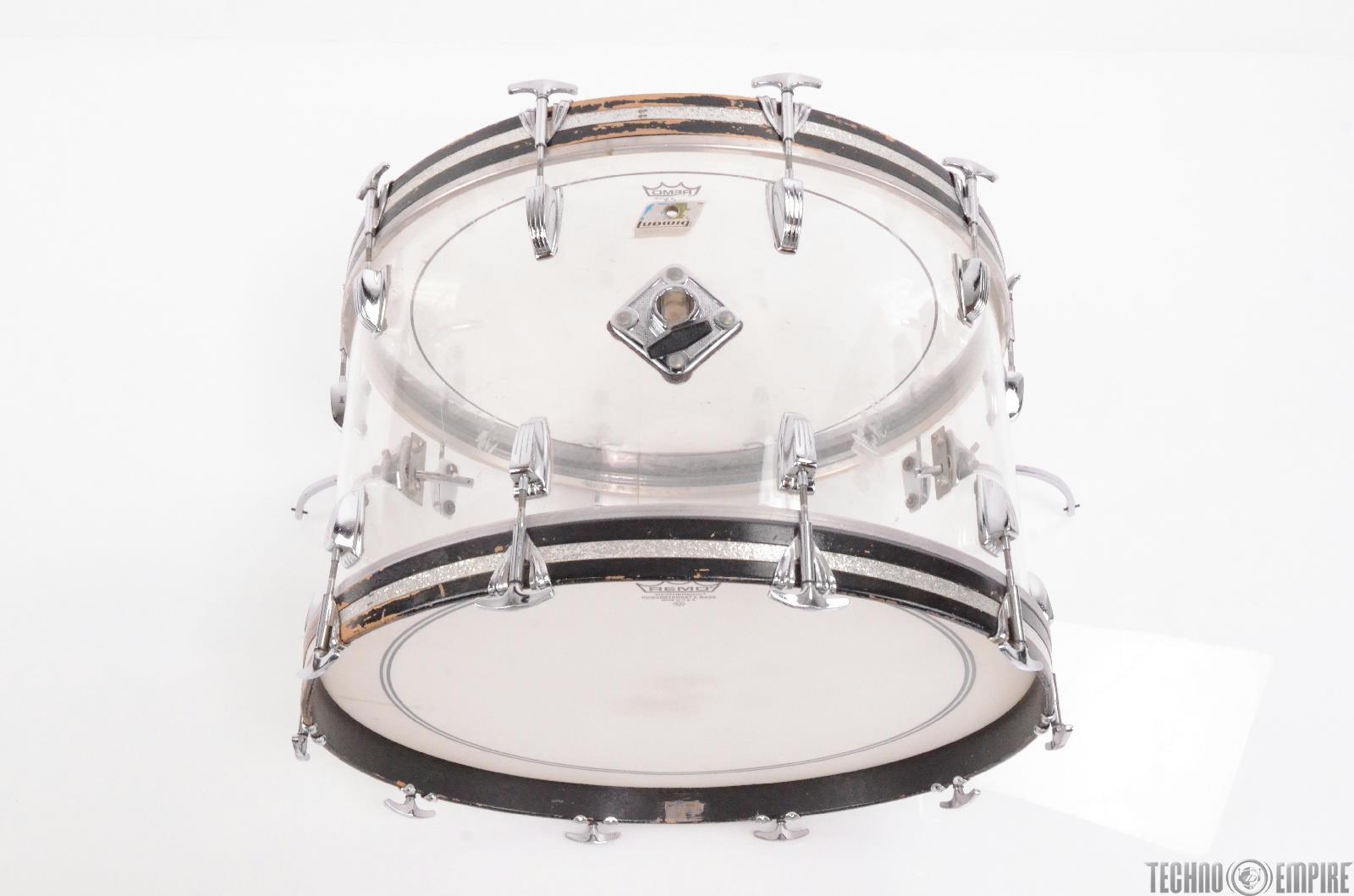 1970 39 s ludwig vistalite 9 piece clear acrylic drum set w beato cases 27783. Black Bedroom Furniture Sets. Home Design Ideas