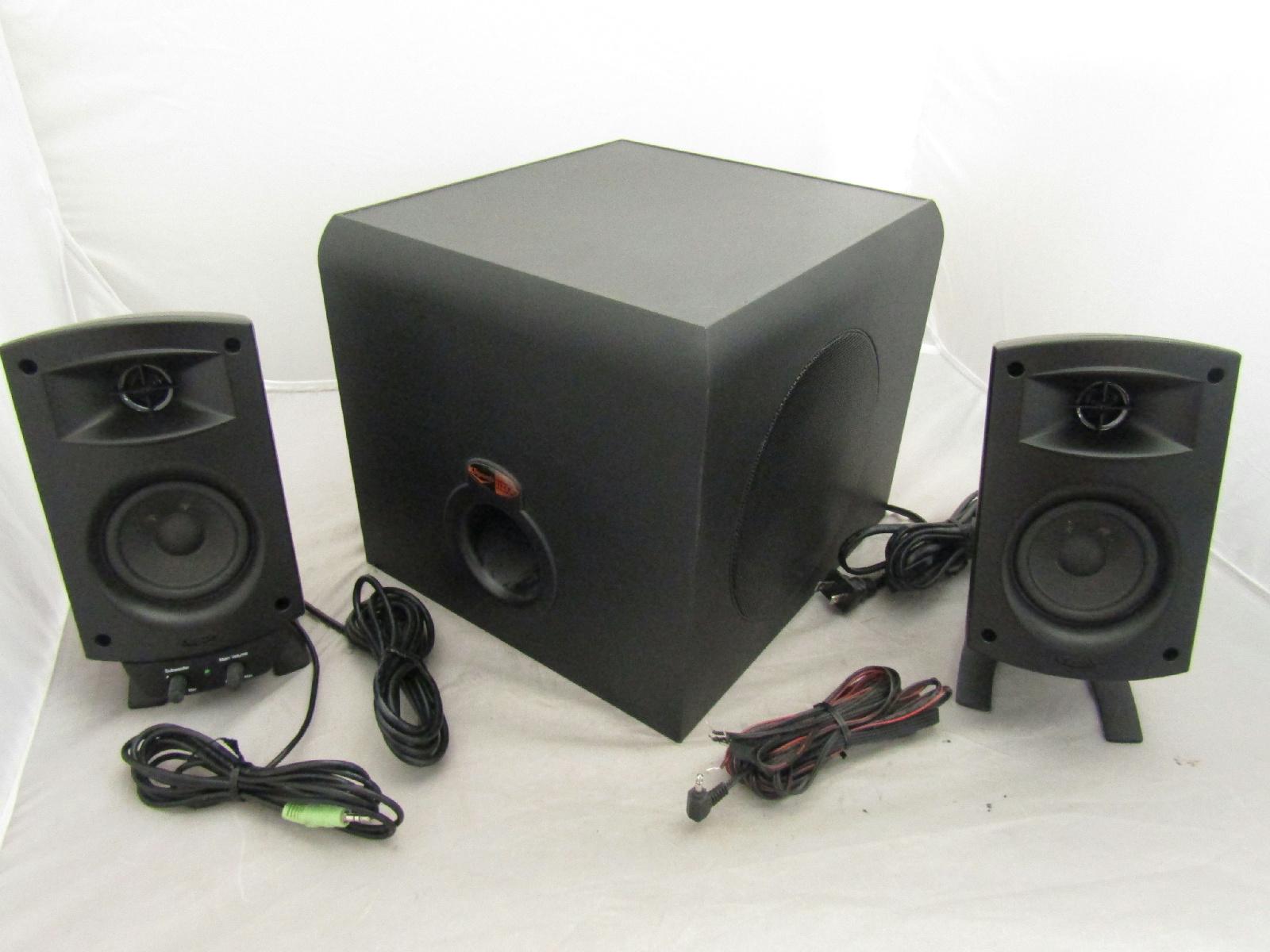 klipsch promedia 2 1 thx computer speaker bundle system 2 subwoofer ebay. Black Bedroom Furniture Sets. Home Design Ideas