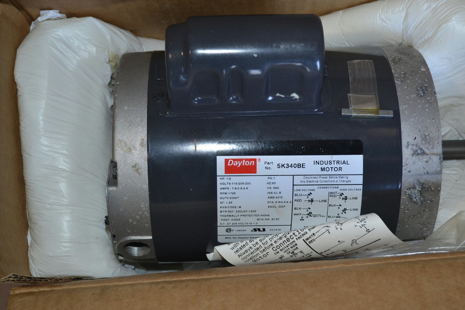 Dayton 1 2 hp motor capacitor start 1725 rpm 115 208 for Dayton capacitor start motor