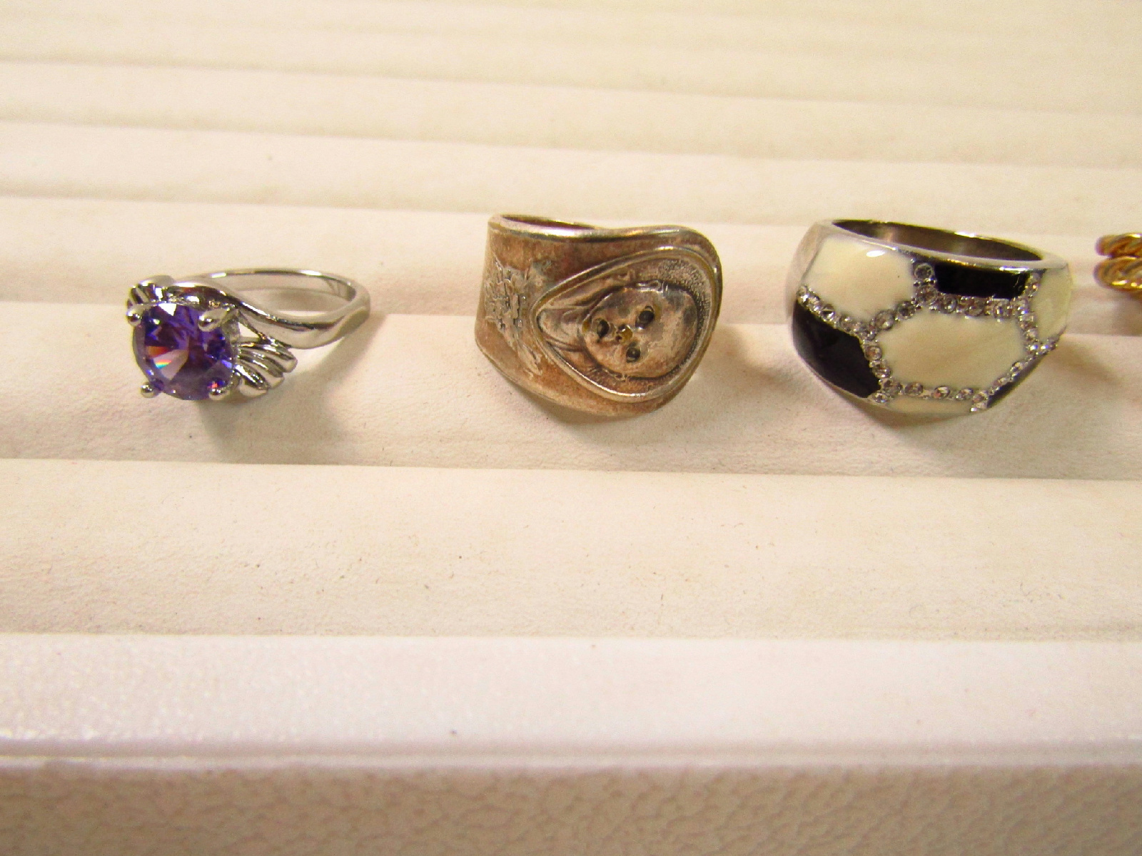 costume jewelry rings lot plastic gold tone mood stones as is