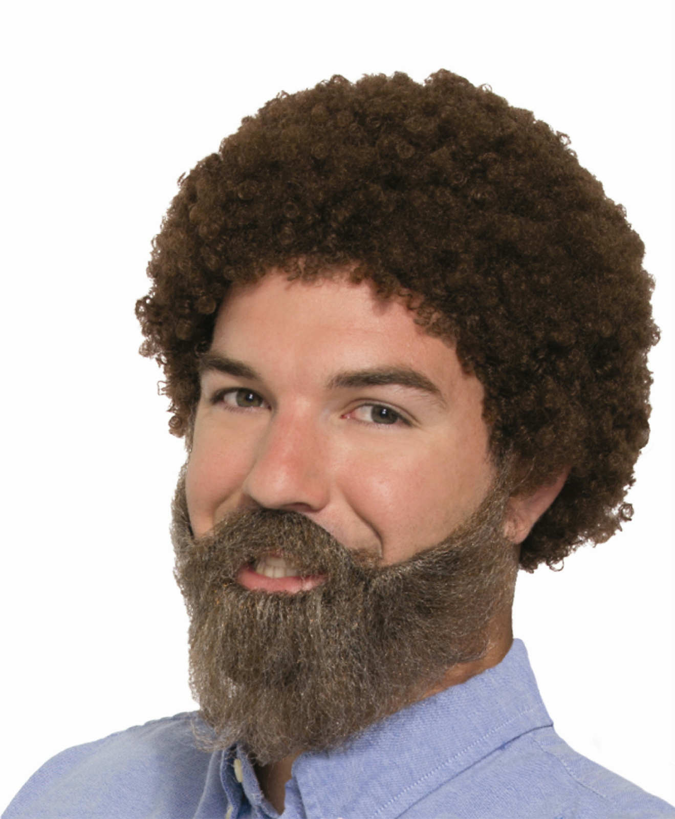 80s Guy American Painter Brown Afro Style Wig /& Beard with Moustache