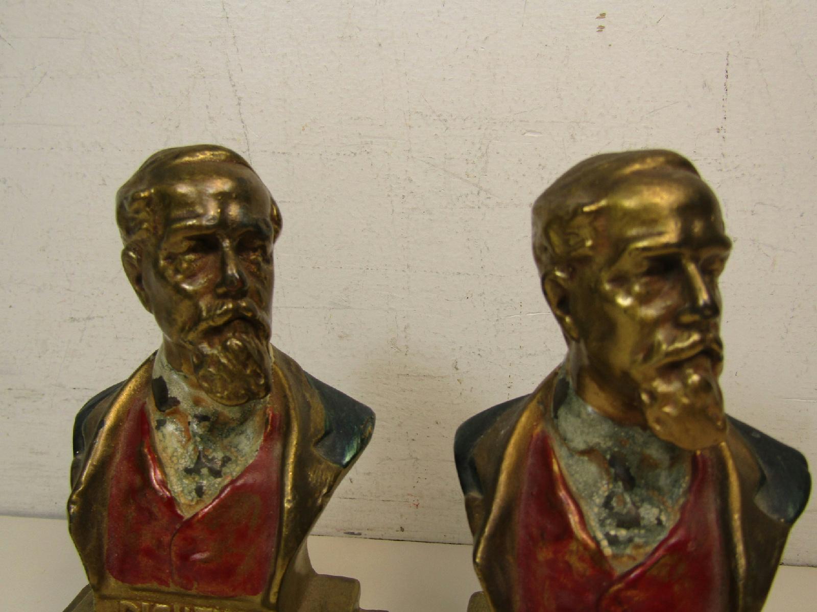Pair of armor bronze co master craftsmen charles dickens bookends book ends - Armor bronze bookends ...