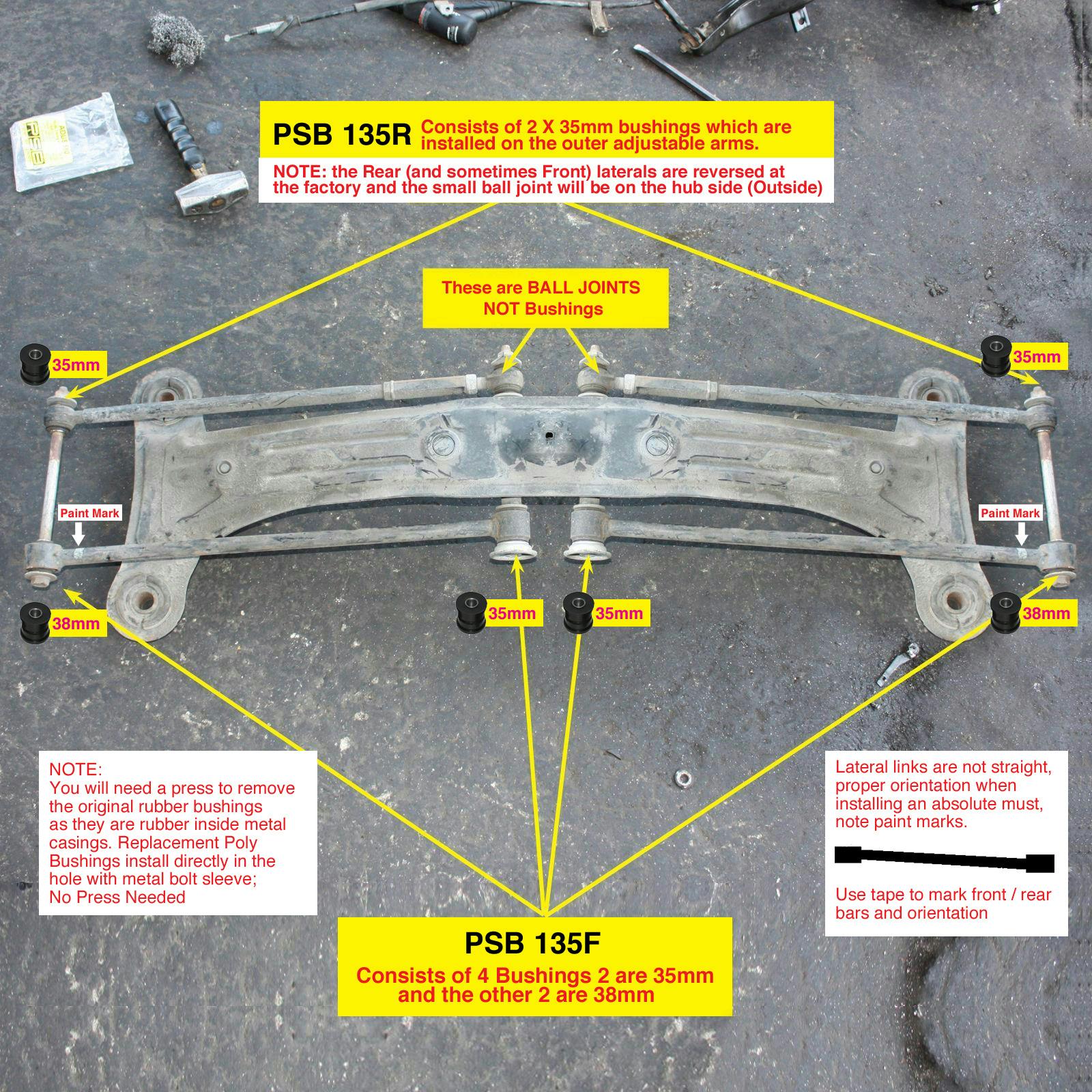 2012 Toyota Highlander For Sale >> Toyota (91-15) Lexus (91-08) Rear Lateral Arm Bushing Kit ...
