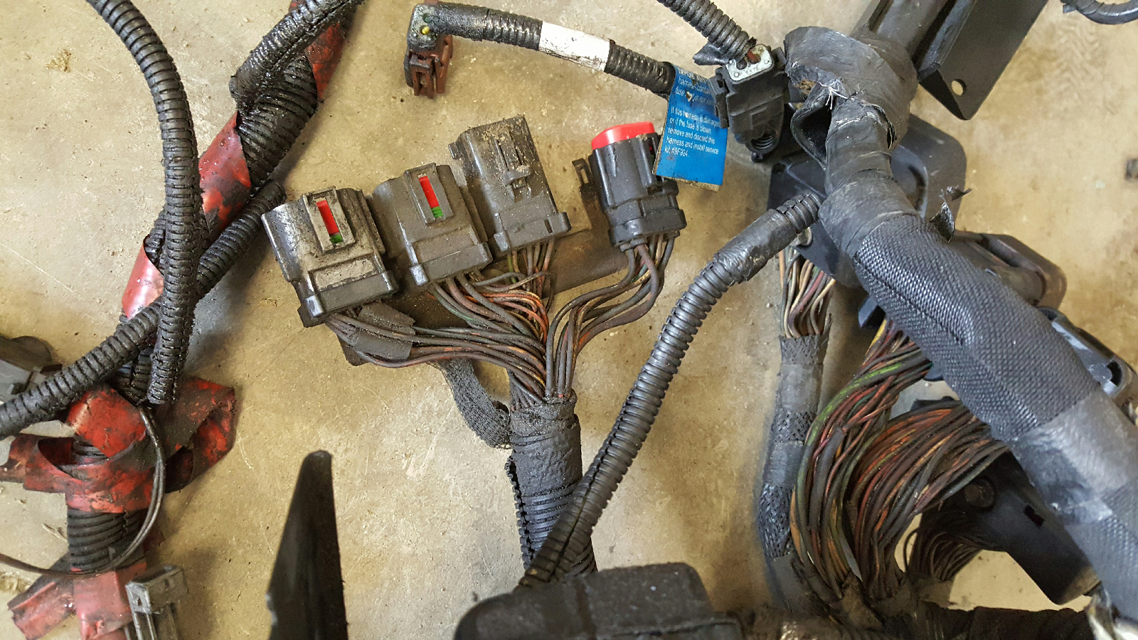 2000-2003 ford f350 7.3l powerstroke engine compartment ... 7 way wire harness