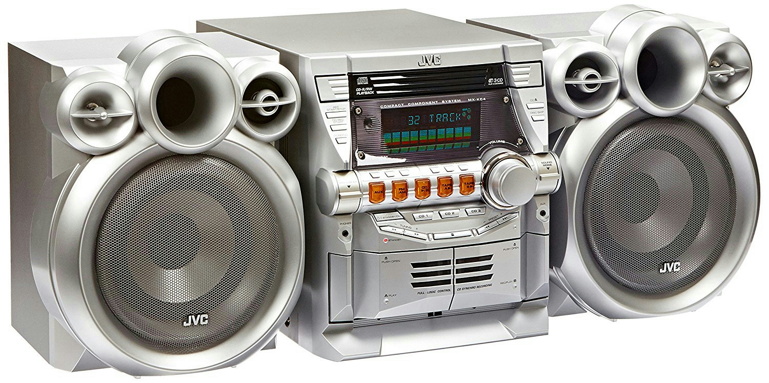 jvc silver compact component stereo system cd cassette