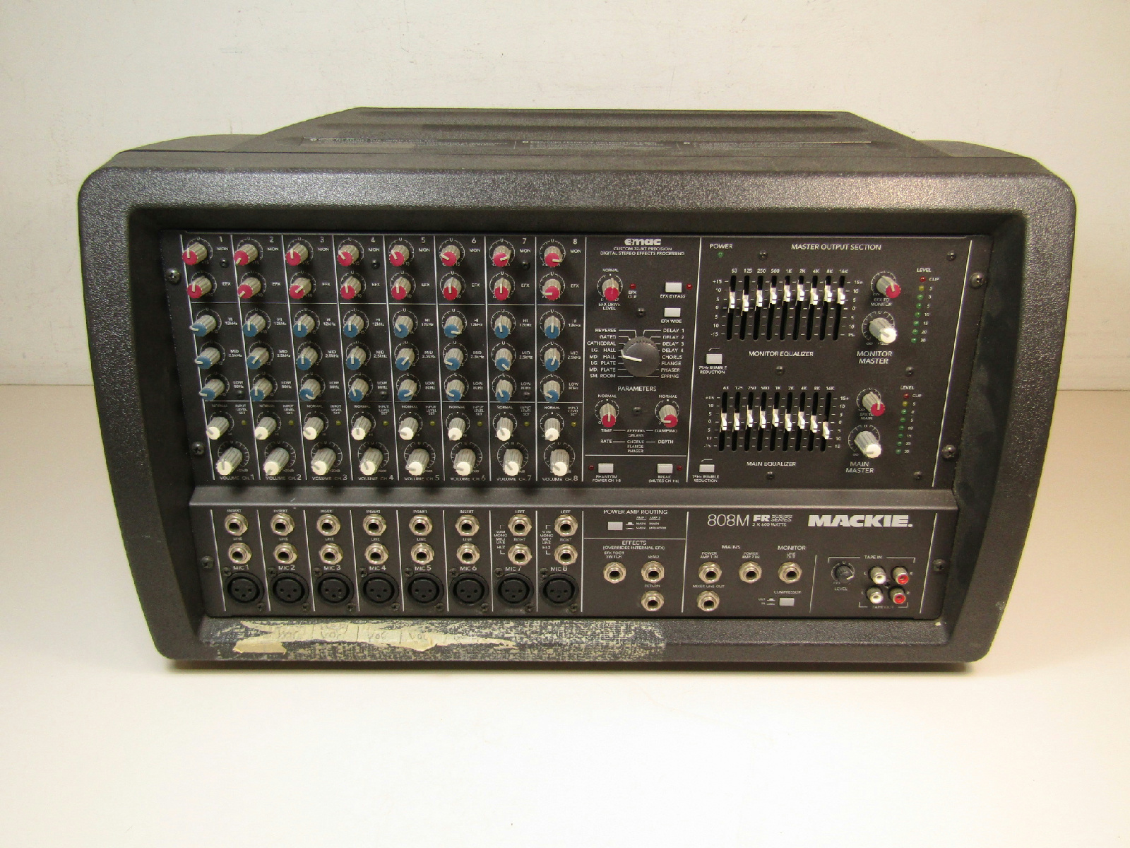 mackie 808m 1200 watt powered pa mixer 8 channel tested ebay. Black Bedroom Furniture Sets. Home Design Ideas