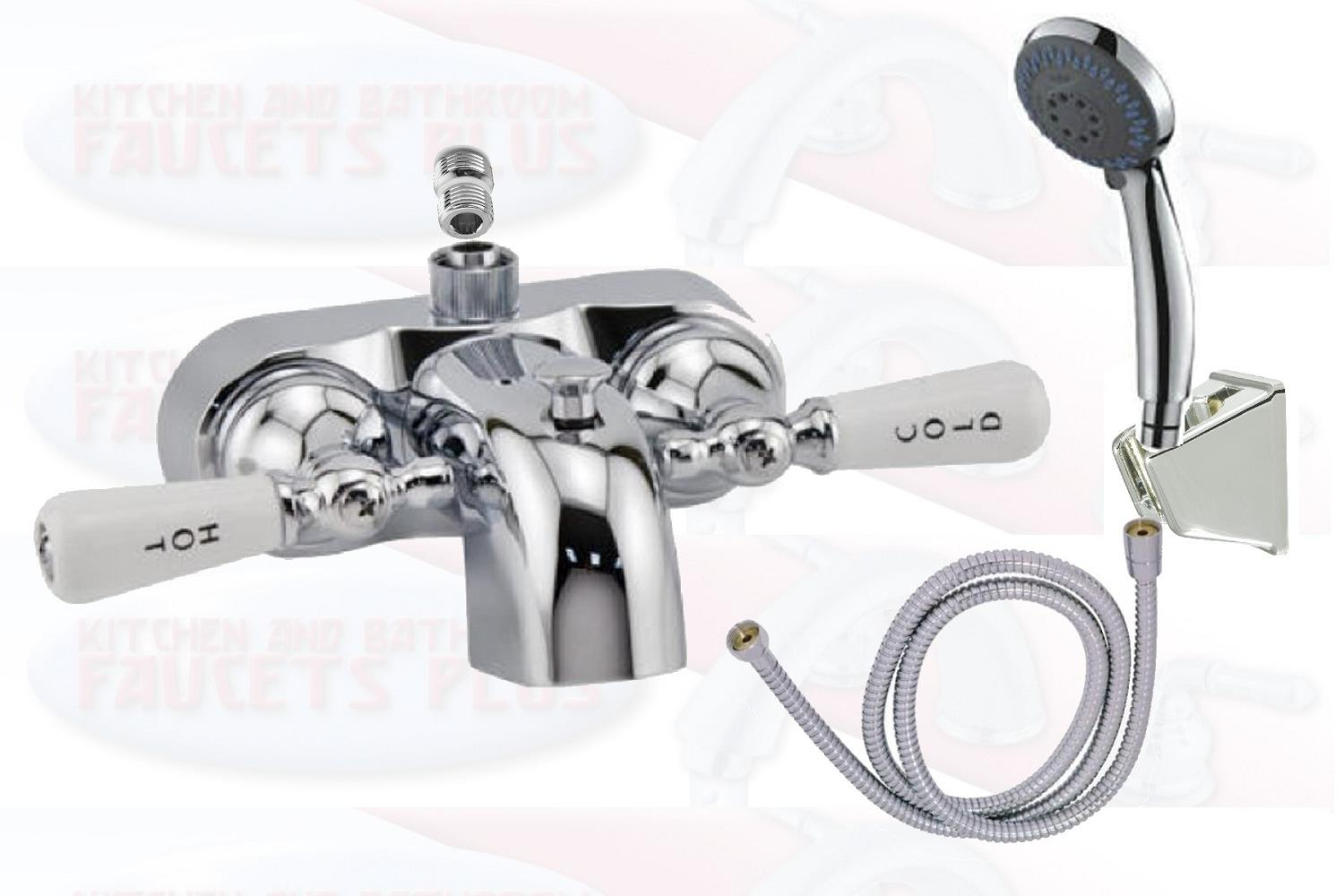 Details About Chrome Clawfoot Tub Add A Shower Faucet W Handshower Porcelain Lever Handles