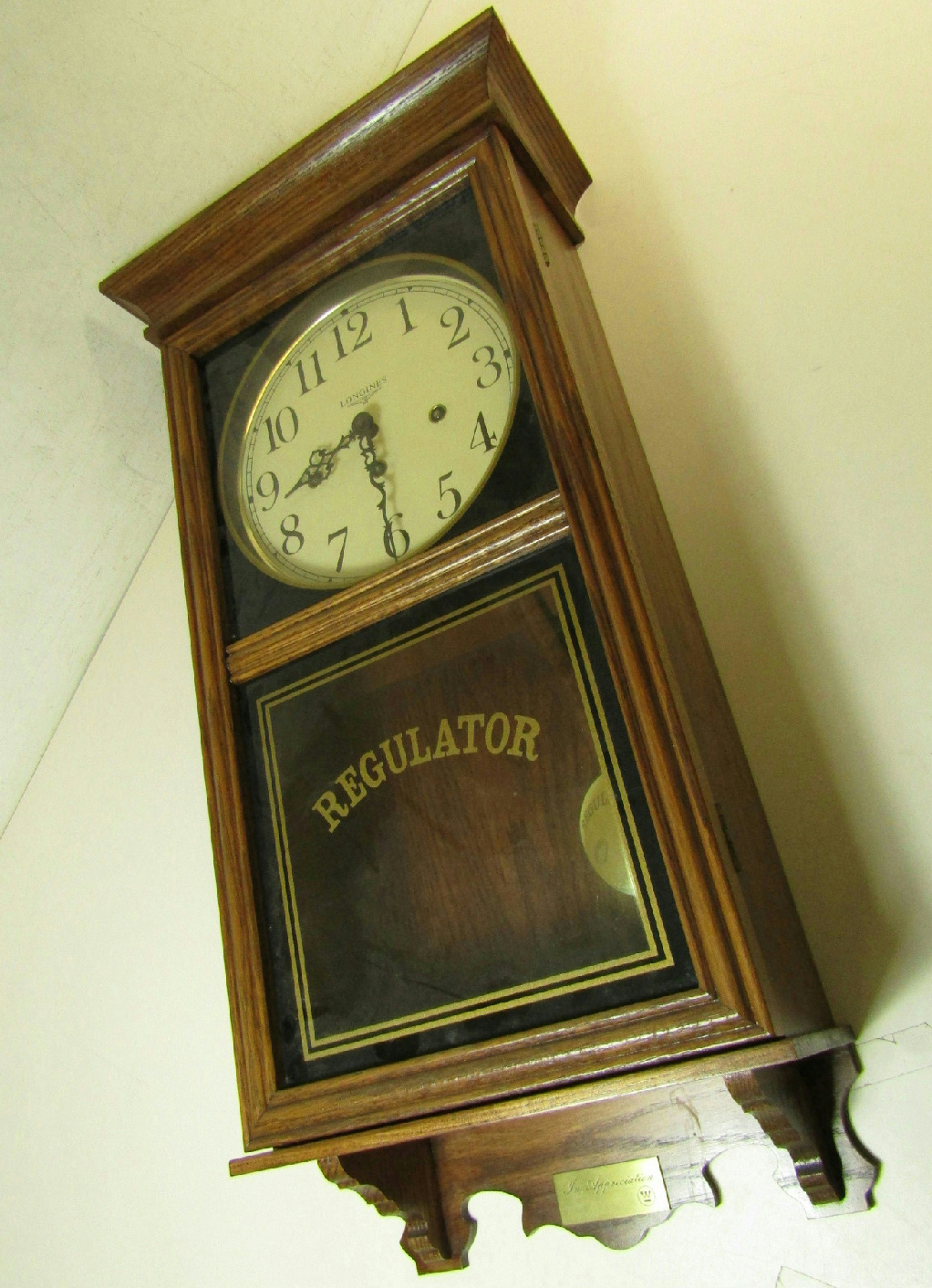 Antique Regulator Wall Clock With Trade S Mark Antique