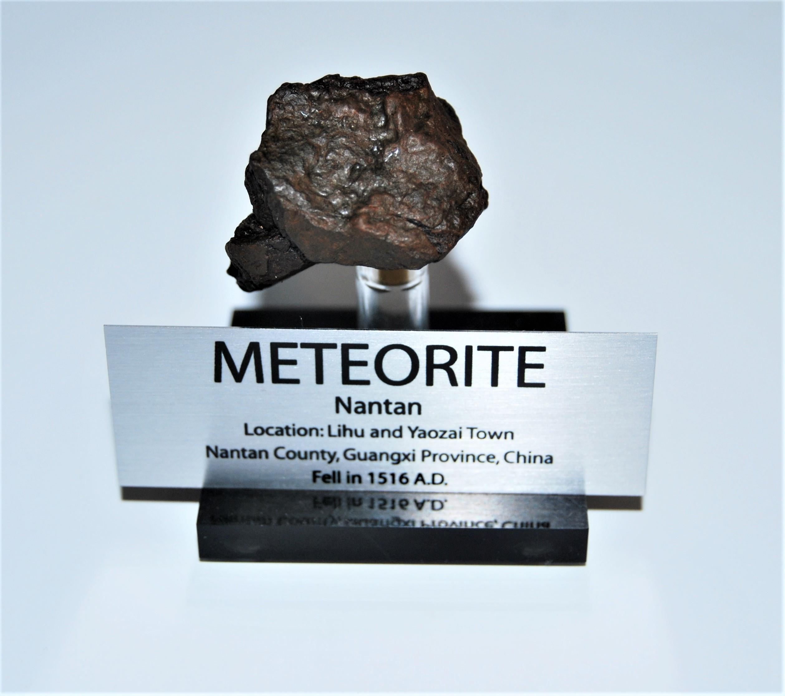 NANTAN IRON METEORITE 48.7 grams w/ Acrylic Display Stand, Label, COA #12966 9o