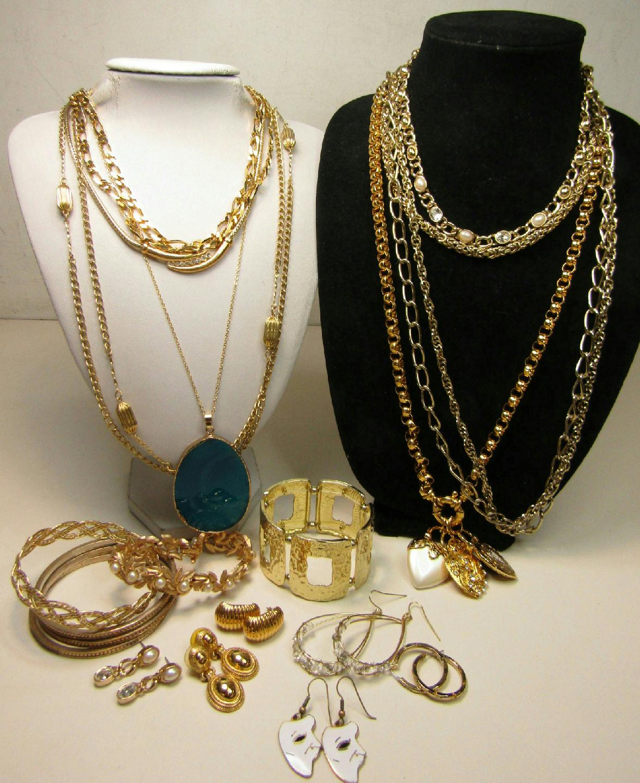 Gold Tone Costume Jewelry Lot Chunky Bracelet Chain ...