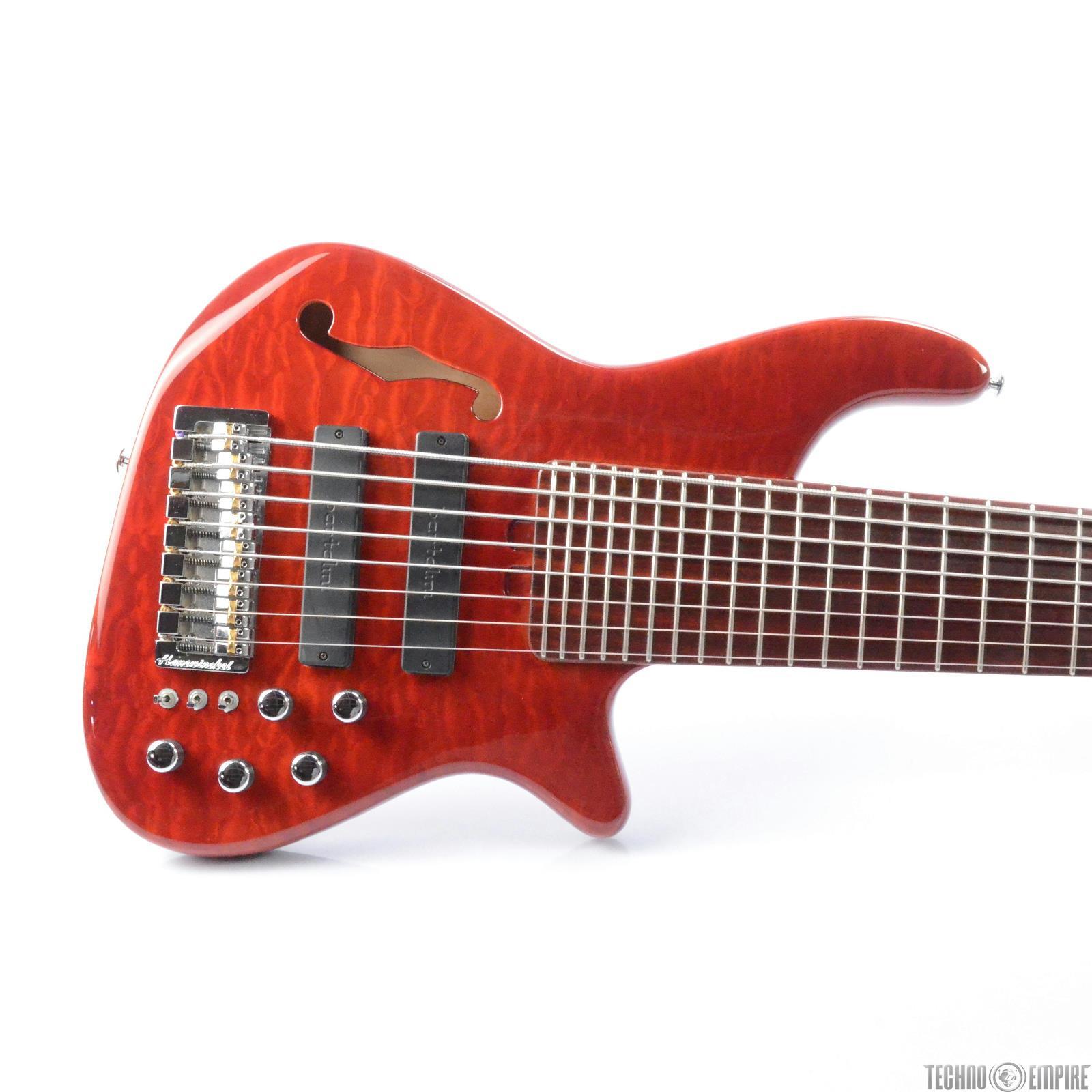 2004 Hanewinckel 8 String Bass Active Semi-Hollow Alder Body Piezo Bridge #28529