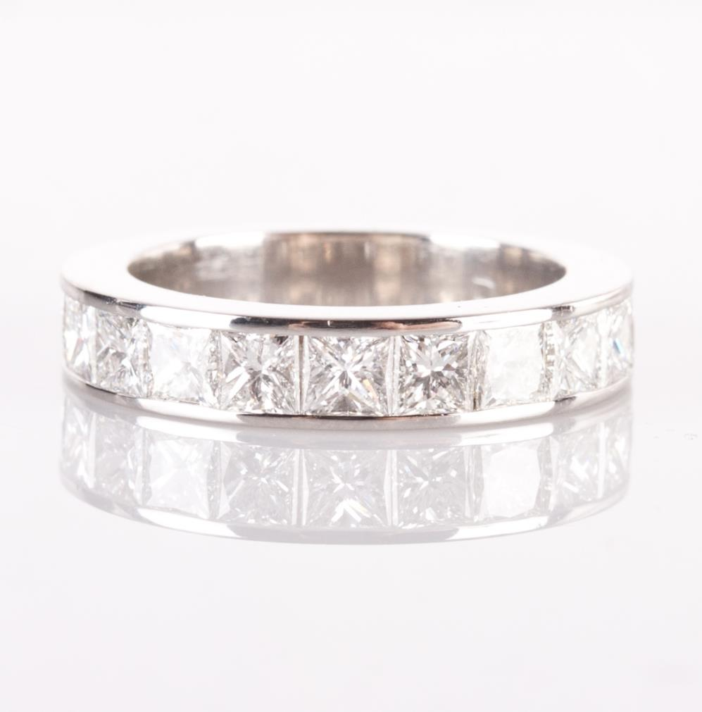 Platinum princess cut channel set diamond wedding for Platinum princess cut wedding rings