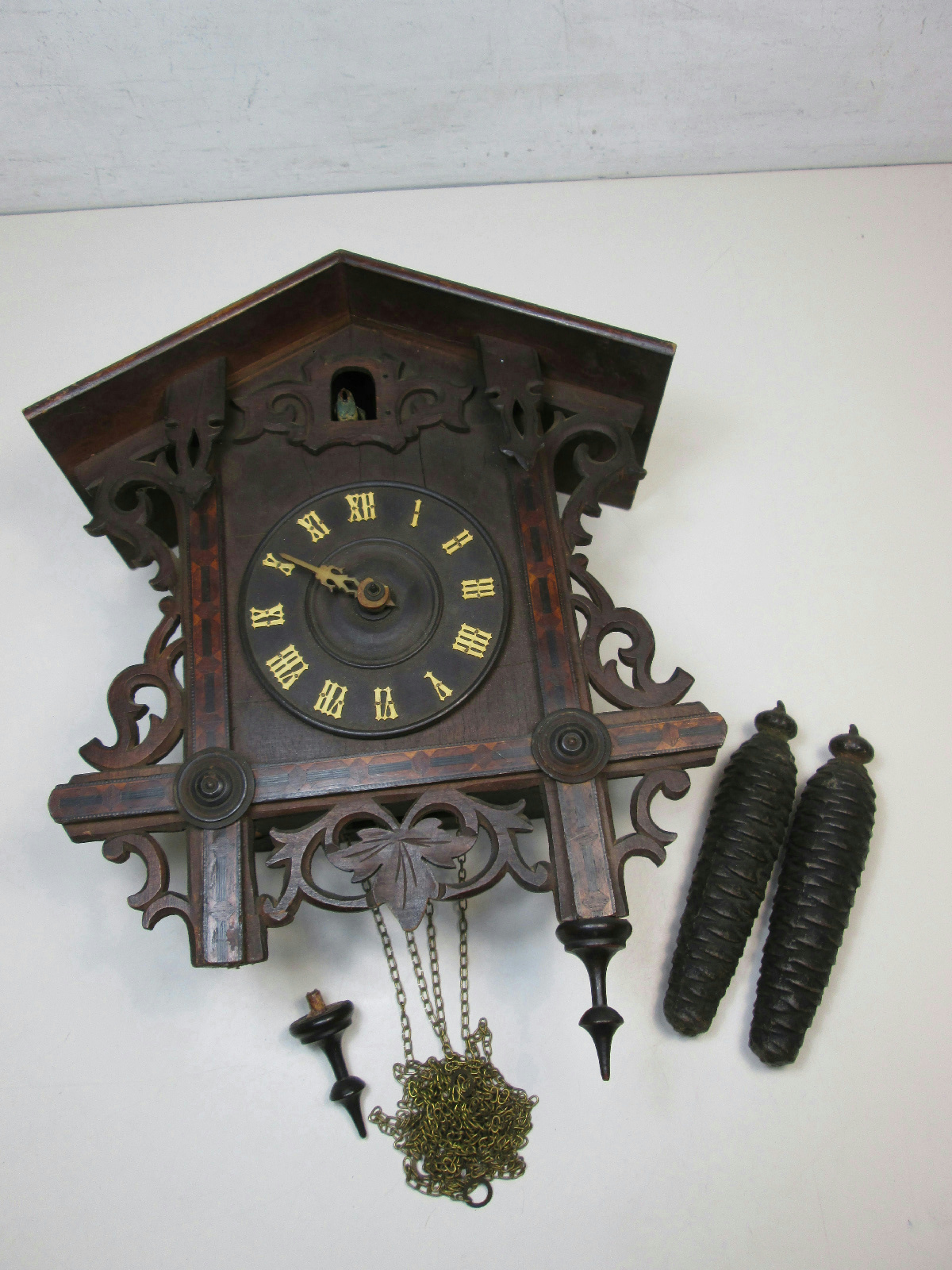 Antique wooden cuckoo clock made in germany for parts or repair ebay - Wooden cuckoo clocks ...