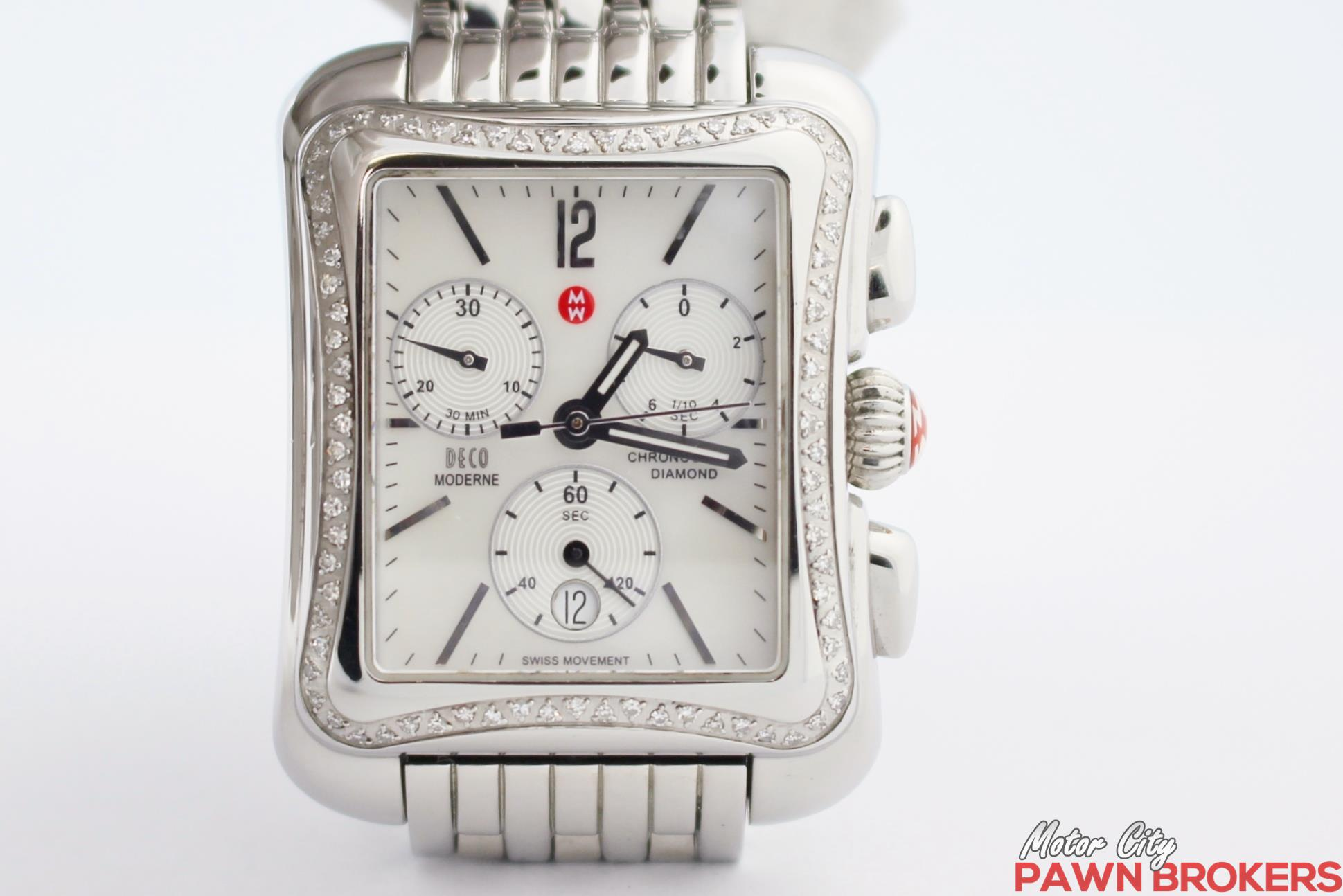 Michele deco moderne diamonds stainless steel for Motor city pawn shop