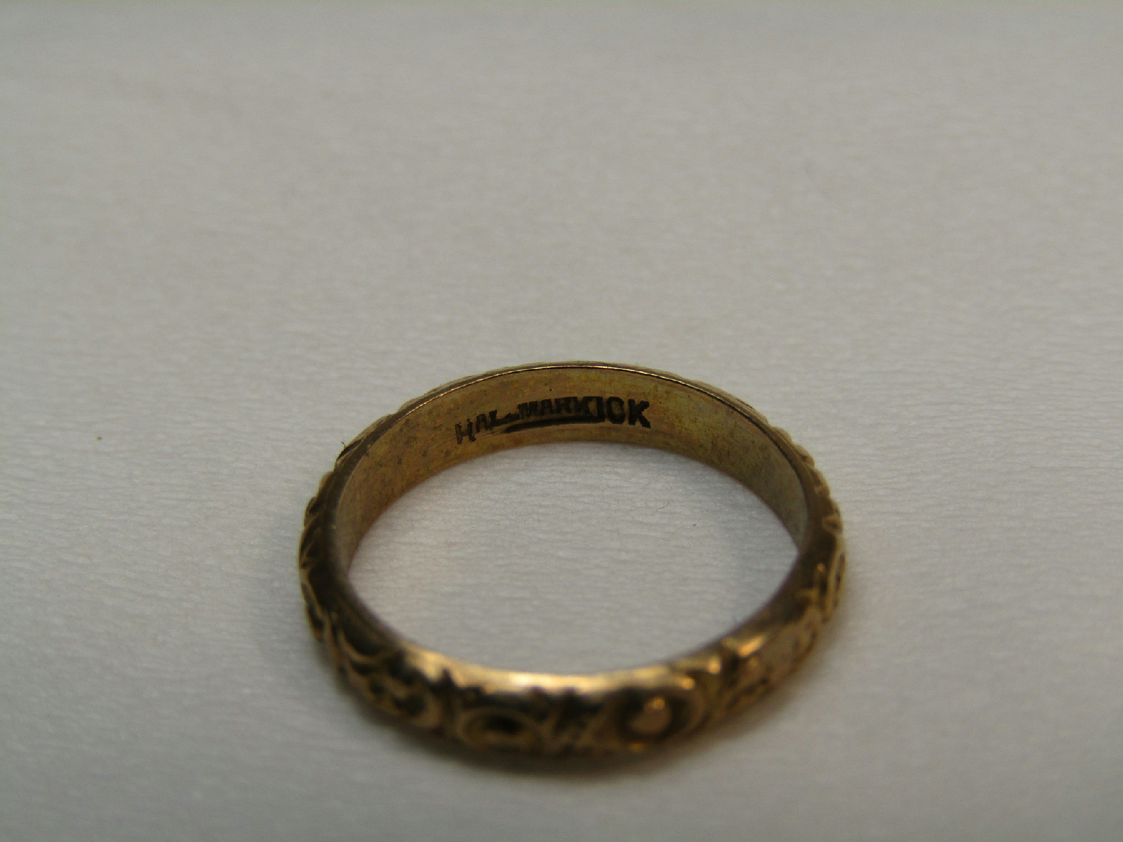 10k Yellow Gold Jewelry Vintage Baby Ring Scrolled Pattern