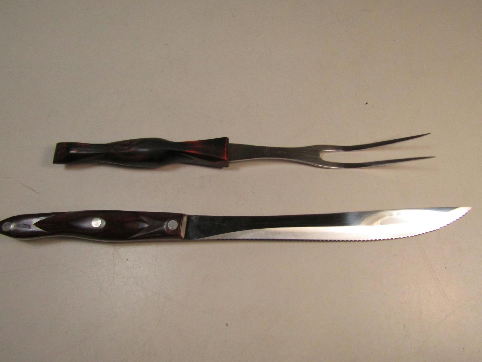vintage cutco usa carving fork and knife set 1723 1727 ebay. Black Bedroom Furniture Sets. Home Design Ideas