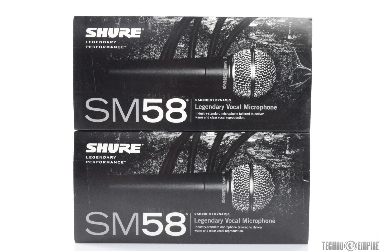 2 SHURE SM58 Cardioid Dynamic Microphones Fairfax Recordings #27933
