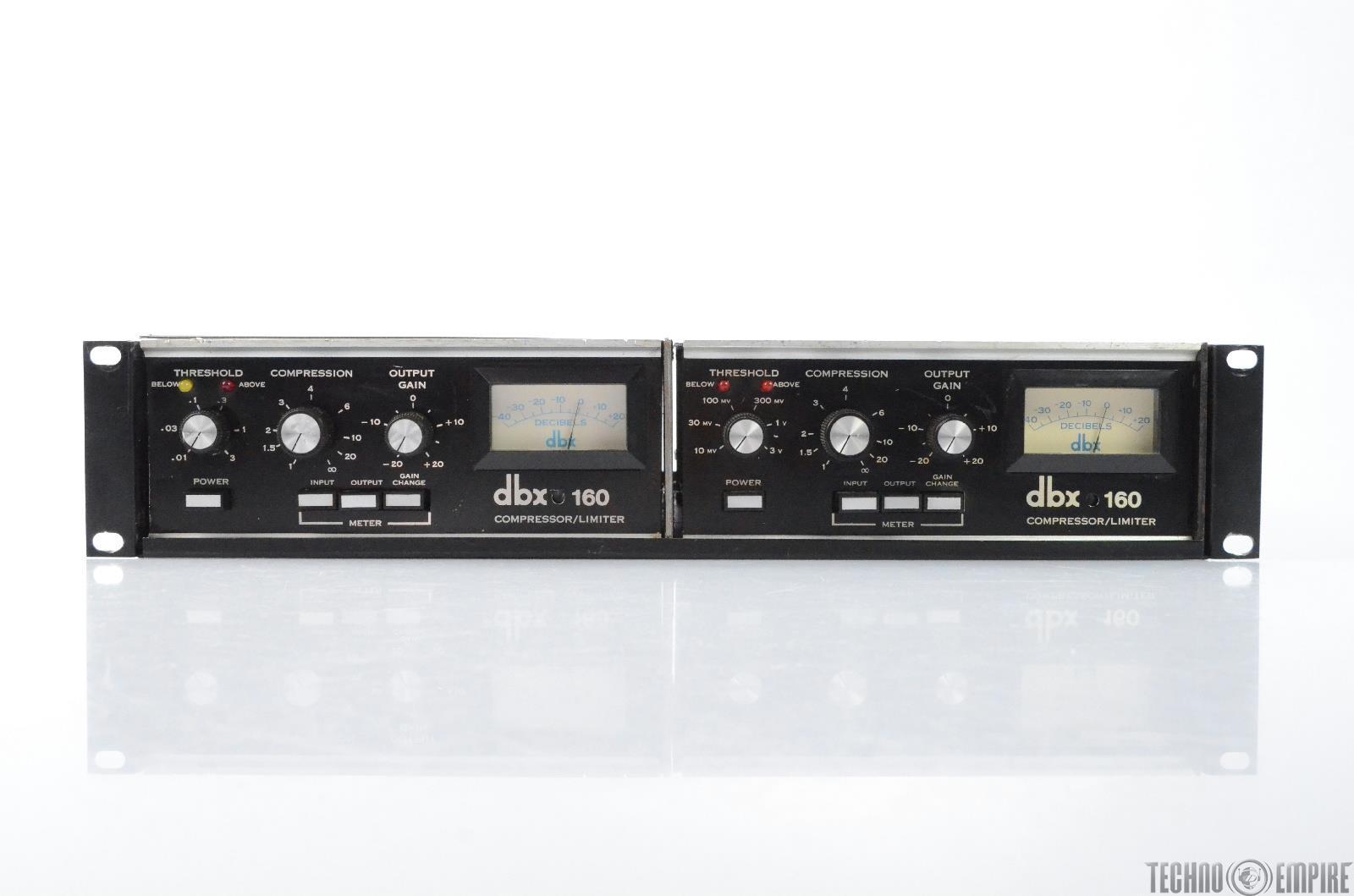 2 Vintage DBX 160 Compressor Limiters VU Meters Grandmaster Recorders #28736