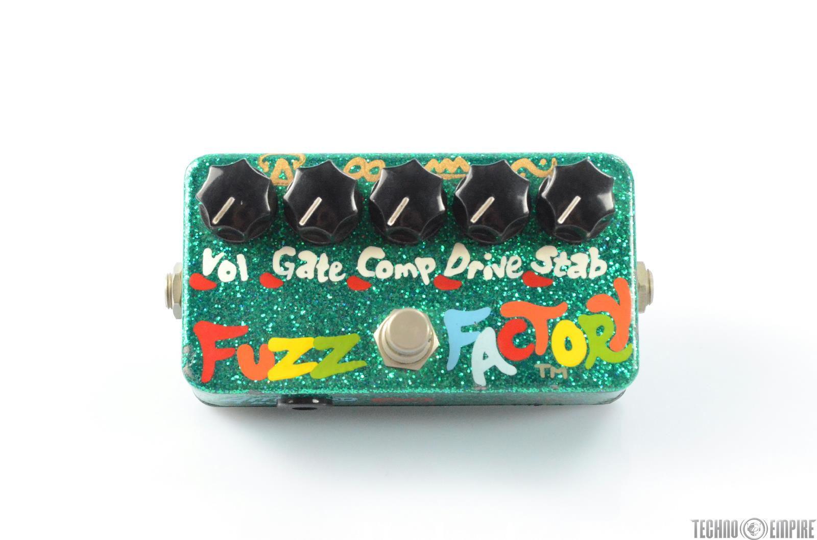 2000 ZVEX Fuzz Factory Guitar Pedal Stompbox Hand Painted Green Sparkle #29577