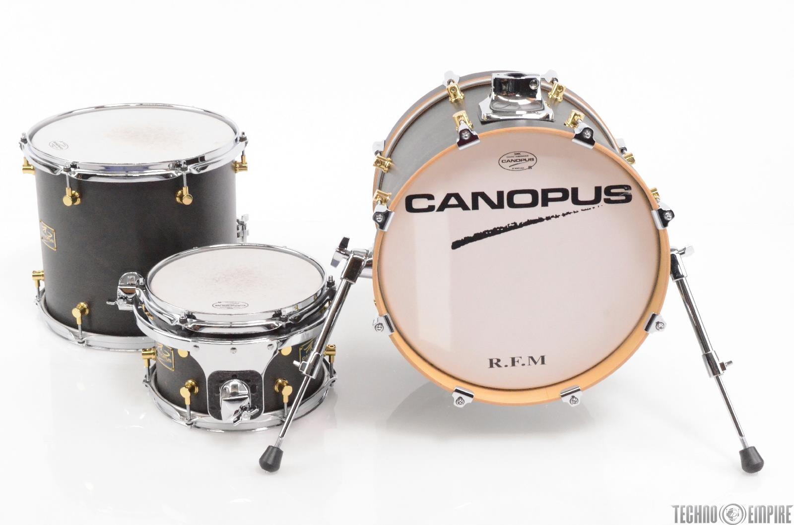 Canopus RFM Club Kit Bop Drum Set Shell Pack Charcoal Oil w/ Gig Bags #29702