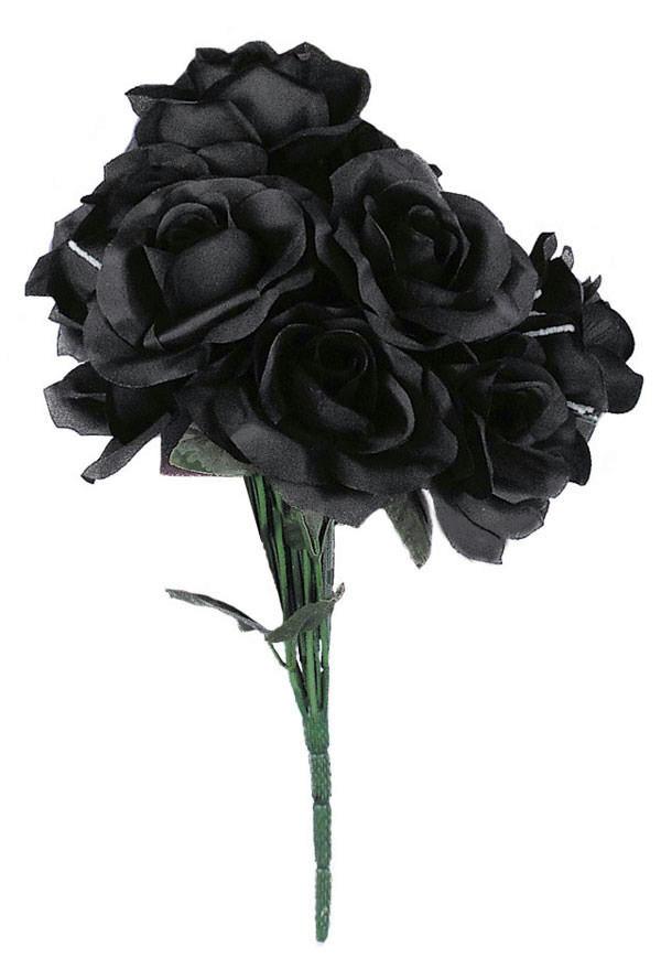 Black Rose Bouquet Fake Dead Flowers