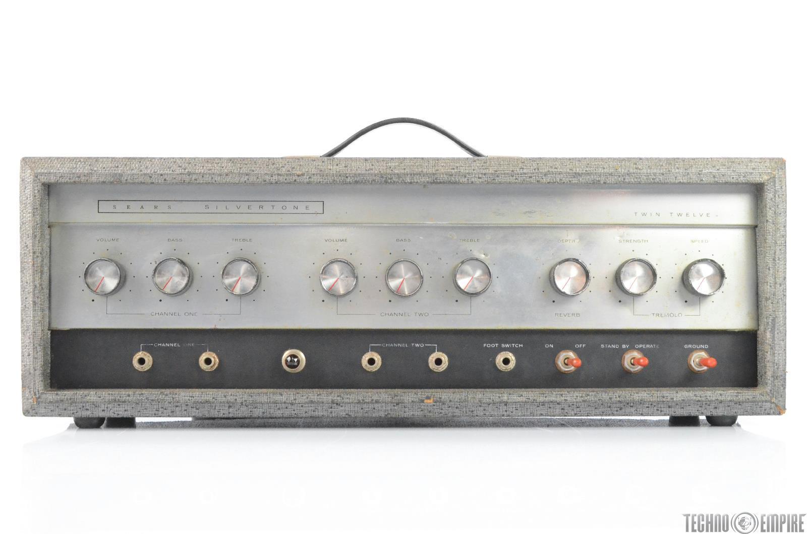 1960s Sears Silvertone 1484 Twin Twelve Tube Amplifier Amp Head #29804