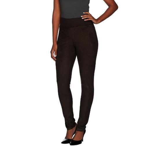 Front Black Logo Ponte Lori Suede By Size Goldstein L Knit Pants Faux With Cgpg7qwX